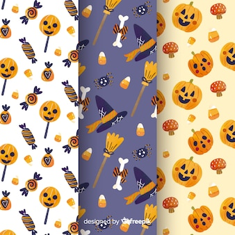 Collectie van aquarel halloween patroon