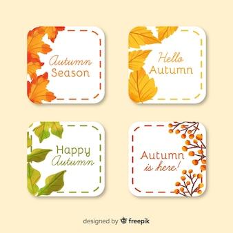 Collectie van aquarel herfst etiketten