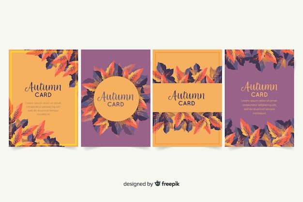 Collectie van aquarel herfst kaarten