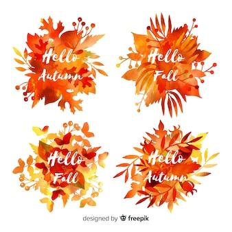 Collectie van aquarel herfst labels