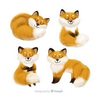 Collectie van aquarel vos tekeningen