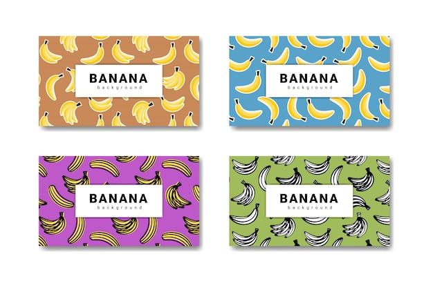 Collectie van banaan fruit hand getekende achtergrond. banaan eten banner.