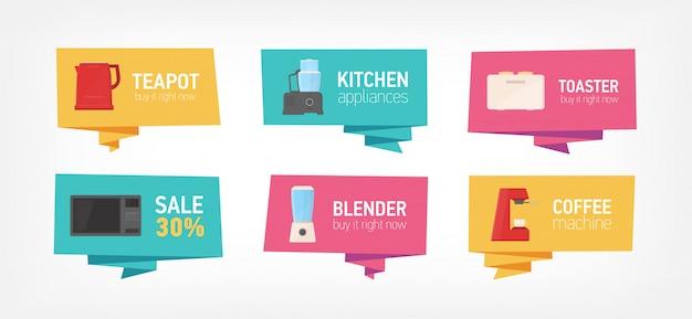 Collectie van banners met keukengerei en huishoudelijke apparaten op een witte achtergrond. bundel met badges met kookgelegenheid of elektrisch gereedschap. plat kleurrijke illustratie