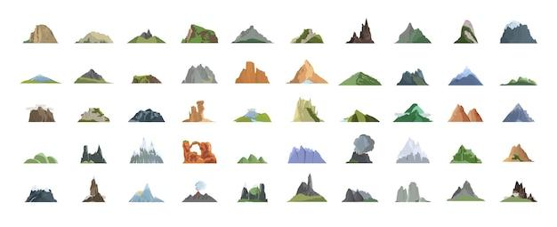 Collectie van bergen, heuvels en landschappen.