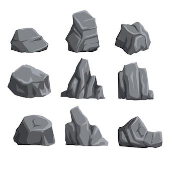 Collectie van bergstenen met lichten en schaduwen. rock landschapselementen. cartoon stijl keien set.