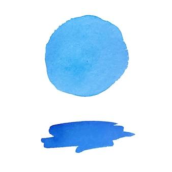 Collectie van blauwe aquarel penseelstreek en vlek geïsoleerd op een witte achtergrond