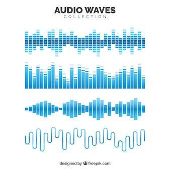 Collectie van blauwe audiogolven