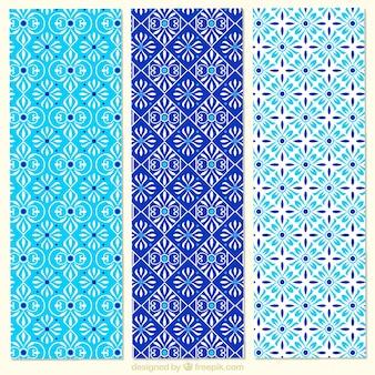 Collectie van blauwe bloemen patronen