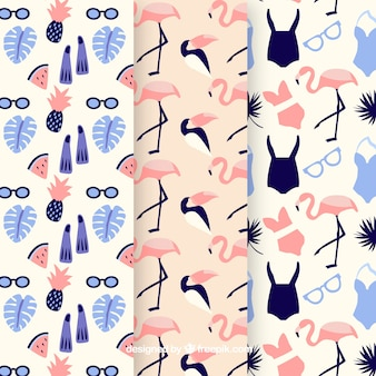 Collectie van blauwe en roze zomerpatronen