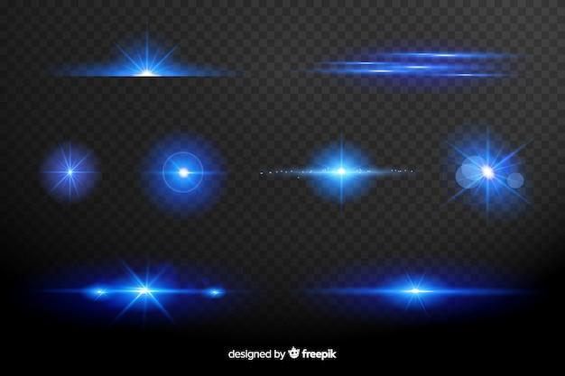 Collectie van blauwe lichten effect