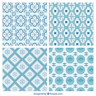 Collectie van blauwe mozaïek patronen