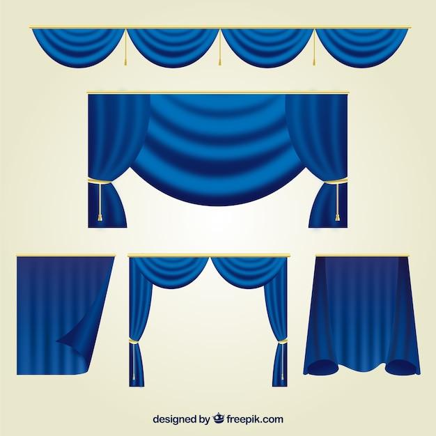 Collectie van blauwe theatergordijnen