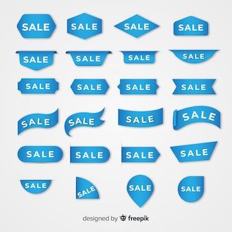 Collectie van blauwe verkooplabel