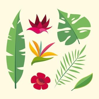 Collectie van bloem en blad concept