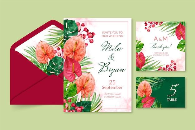 Collectie van bloemen bruiloft briefpapier