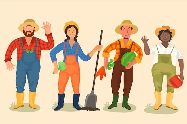Collectie van boerenmensen