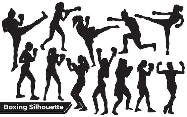 Collectie van boksende vrouw silhouet