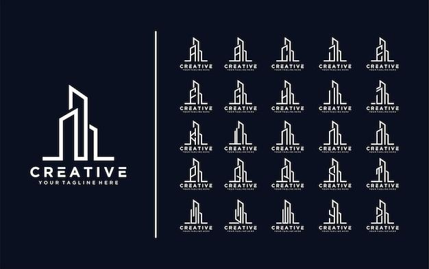 Collectie van bouwarchitectuur sets onroerend goed logo letter a tot z logopremium vector