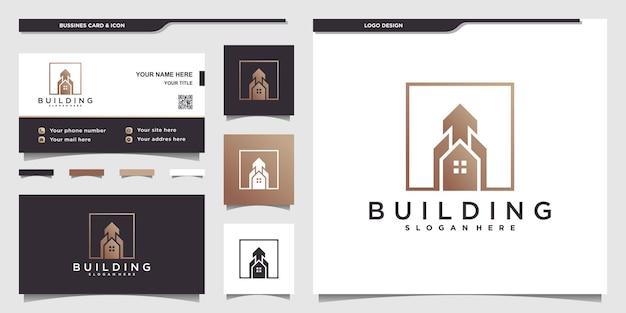 Collectie van bouwlogo met uniek bouwdoosvormconcept en visitekaartje