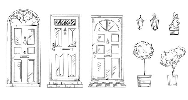 Collectie van britse traditionele deuren met bloempotten en lantaarns, vector schets