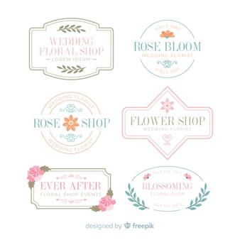 Collectie van bruiloft bloemist logo's