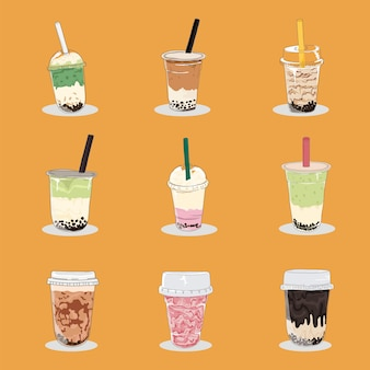 Collectie van bubble tea cup en milkshake