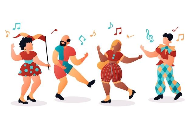 Collectie van carnaval dansers