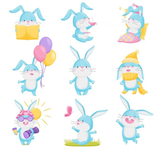 Collectie van cartoon konijnen op witte achtergrond.