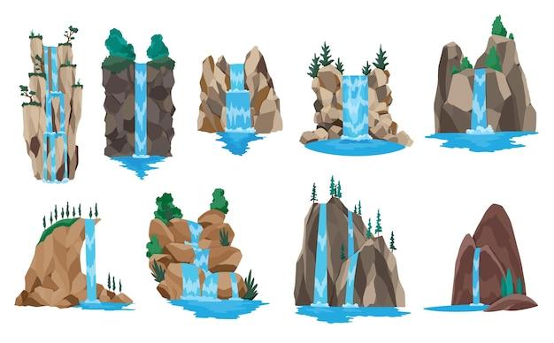 Collectie van cartoon rivier watervallen. landschappen met bergen en bomen