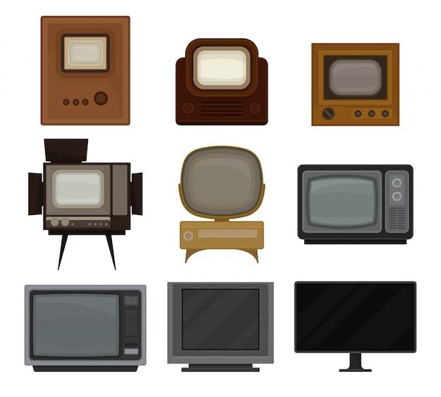 Collectie van cartoon tv op witte achtergrond.