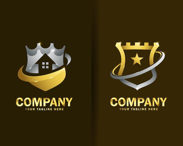 Collectie van castle shield logo ontwerpsjablonen