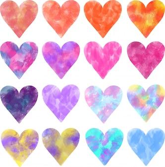 Collectie van creatieve kleurrijke aquarel harten