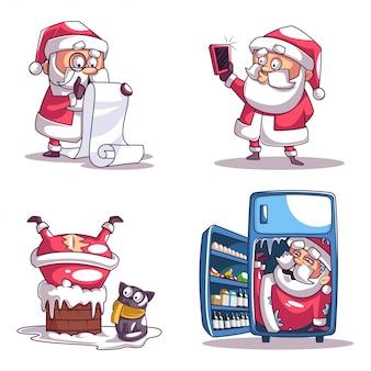 Collectie van de kerstman in verschillende poses