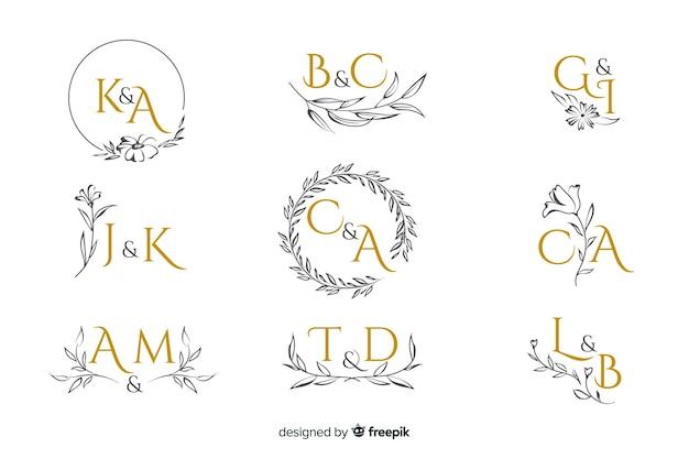 Collectie van decoratieve bruiloft monogram