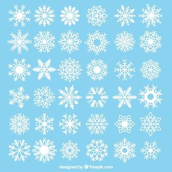 Collectie van decoratieve sneeuwvlokken