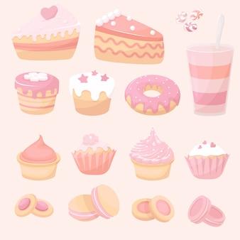Collectie van desserts, goederen doodle icoon, schattige cake, taart, zoete pudding