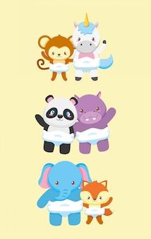 Collectie van dieren voor baby shower kaart