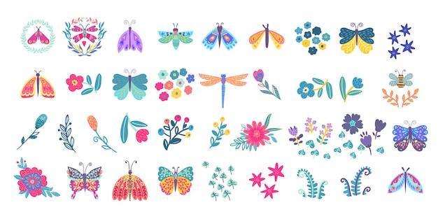 Collectie van elegante exotische vlinders, motten, libellen, hommels en bloemen. set van tropische vliegende insecten met kleurrijke vleugels. decoratieve abstracte elementen van ontwerp. vector geïsoleerd