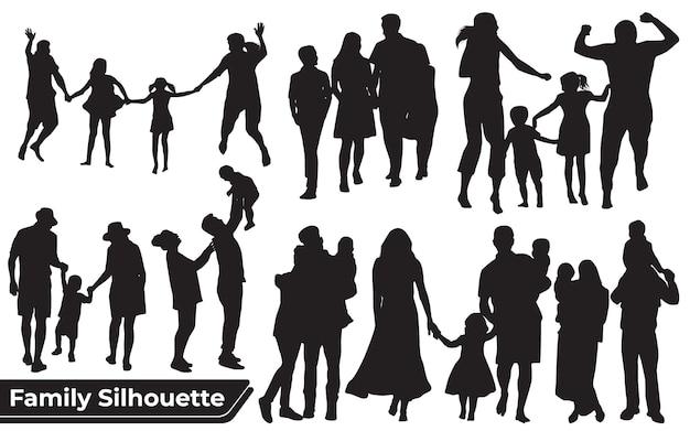 Collectie van familie silhouetten