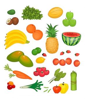 Collectie van fruit en groenten in vlakke stijl