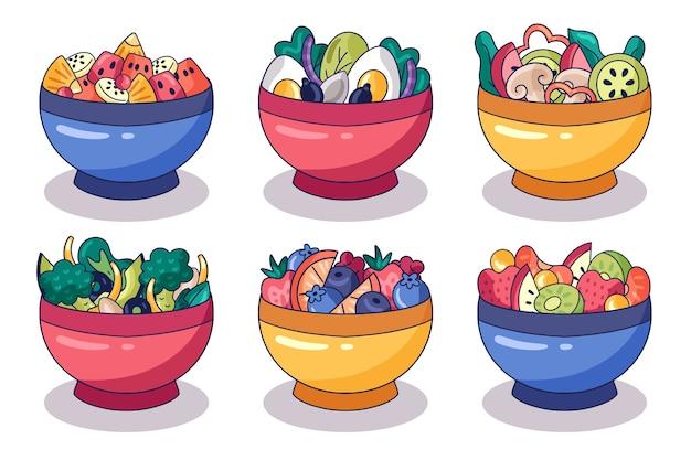 Collectie van fruit en salade kommen