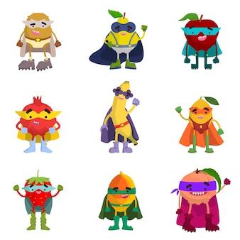 Collectie van fruit superhelden. grappige personages in cartoonstijl.