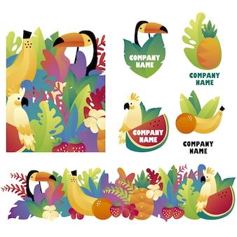 Collectie van fruitelementen