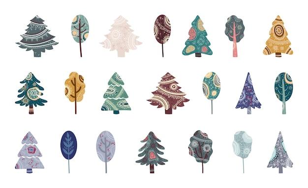 Collectie van gedessineerde bomen met geometrische ornamenten.