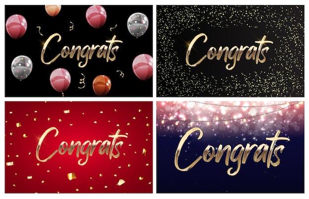 Collectie van gefeliciteerd ontwerpsjabloon achtergrond met ballonnen, linten en confetti.