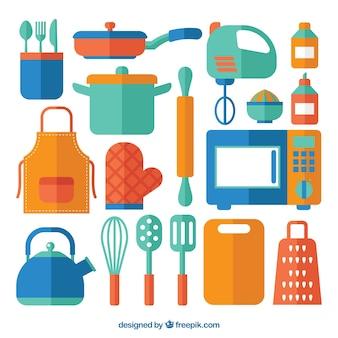 Collectie van gekleurde keukenelementen in vlakke vormgeving