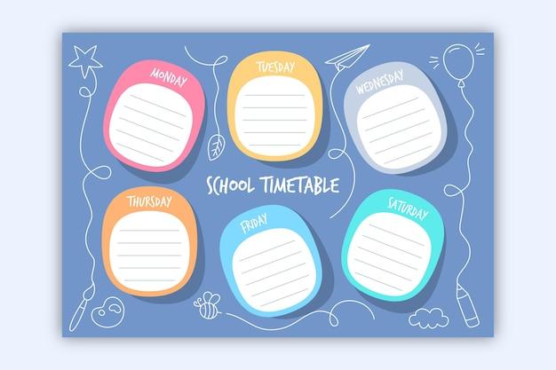 Collectie van gekleurde terug naar school tijdschema