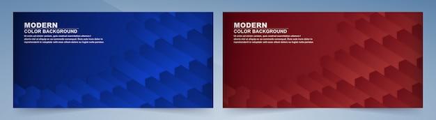 Collectie van geometrische blauwe en rode banner.