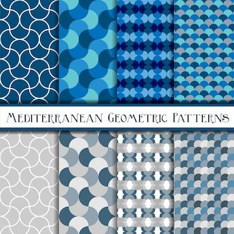 Collectie van geometrische blauwe schalen naadloze patronen