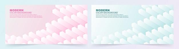 Collectie van geometrische roze en blauwe banner.